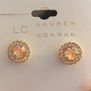 LC Simulated Crystal Halo Button Stud Earrings